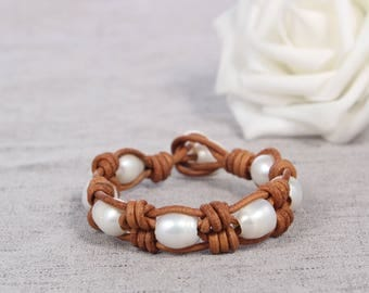 Hand made friendship bracelet - white pearl leather woven bracelets