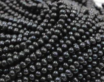 6 mm black round freshwater pearls, black round pearl, 15'' full strand, round pearl strands, pearl wholesale