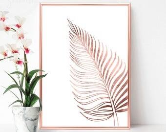 Pink Gold Wall Art, Printable Rose Gold Wall Art, Rose Gold Foil Print, Rose Gold Printable, Rose Gold Print Art, Female Bedroom Art