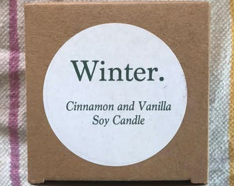 Winter, Cinnamon and Vanilla Soy Candle