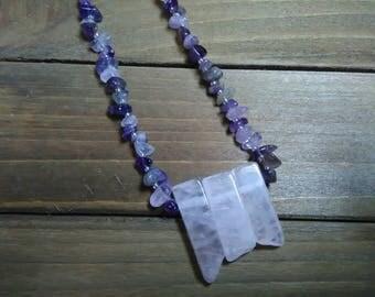 Amethyst and Rose Quartz necklace