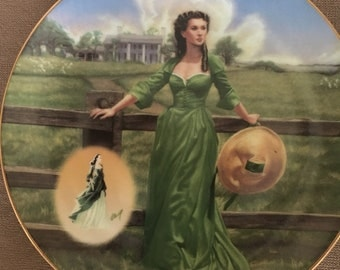 """1995 Gone with the Wind  """" The Final Out-take: The Green Muslin Dress"""" Bradford Exchange Collectors Plate"""