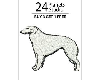 Borzoi Iron on Patch by 24PlanetsStudio Cute Applique Cute Patch dog patch dogs