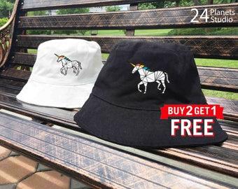 Unicorn Embroidered Bucket Hat by 24PlanetsStudio