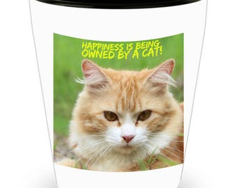 Happiness Is Being Owned By A Cat! Precious White & Orange Kitty Cat Photograph Adorns Cool Ceramic Shot Glass Makes a Perfect Gift!
