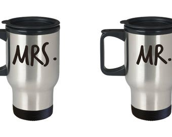 MR. & MRS. Travel Mugs! Wedding Engagement Bridal Shower Happy Anniversary Gift Insulated Stainless Steel Travel Coffee Mug With Lid