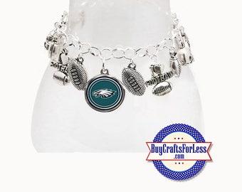 PHILADELPHIA Football CHARM Bracelet, Silver Plated  **FREE U.S. SHiPPiNG**