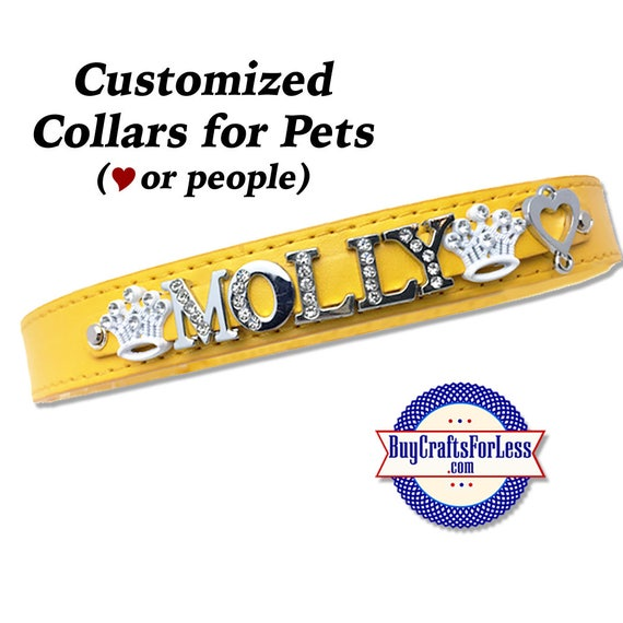 COLLARS, Pet (or People) Collars to PERSONALiZE with 8mm Slider Letters and Charms, 2 SIZES -8 colors  +FREE Shipping & Discounts*
