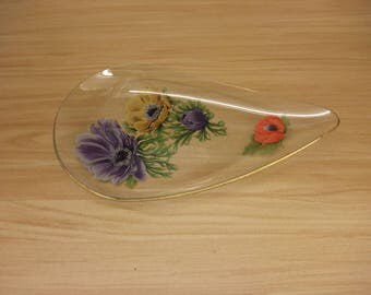Floral Glass Fruit or Cake bowl Beautifuly Painted