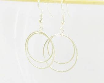 Minimalist earrings silver double circles