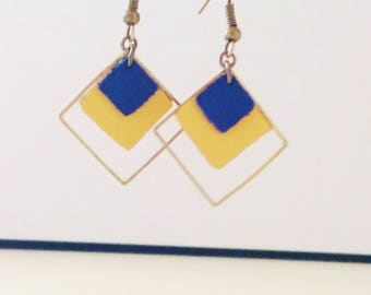 Dangle double graphic leather night blue and yellow dahlia diamond spring summer