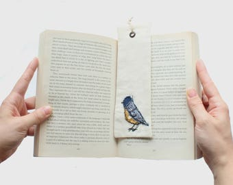 Blue Tit, Linen Country style Book Mark handmade with ribbon an eyelet