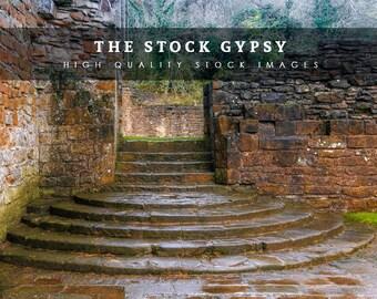 Castle Ruins Steps - Stock Image