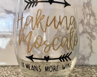 Disney Inspired Hakuna Matata Moscato Wine Glass - The Lion King