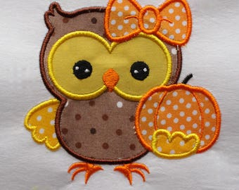 Girl Owl Patch, Thanksgiving Owl Patch, Iron on Owl, Owl Pumpkin Patch, Owl Appliqué, Thanksgiving Appliqué, Owl Embroidery Patch, Patches