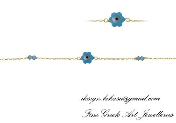Μother-of-pearl Flower Eye Bracelet Sterling Silver Gold plated Fine Jewelry Swarovski Crystals mama friendship baby bath baptism boy girl