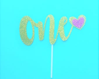 One Cake Topper Gold, One cake topper gold glitter, first birthday girl, 1st birthday cake topper, gold cake topper, glitter cake topper