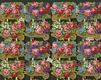 Antique Wheelbarrows with overflowing flowers 64/ full sheet