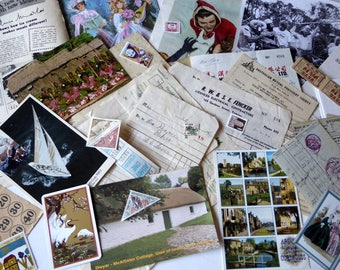 Vintage ephemera pack, postcards, scrapbooking, mixed media, pack #6