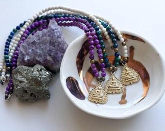 Gold Buddha Gemstone Necklaces // Sugilite // Holwite // Azurite // Double sided Bodhi Leaf Pendant Choker // Purple // White // Blue Green