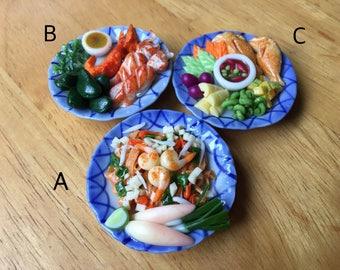 Magnet Pad Thai | Naphrik kapi | Seafoods grill | Magnets food | Miniature Foods | Thai Foods | Refrigerator Magnets