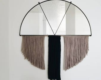 Stained Glass Half Circle Mirror with Fiber Fringe and Brass