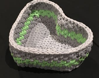 Crochet Storage basket, Handmade Basket, Crochet Heart Shape Basket