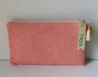 Pouch / clutch in white hearts pink cotton