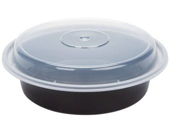 10 ct Black 32oz Round Microwavable Container with Lid, Containers, Take Out Containers, Take Out Boxes, Party, Wedding, Kitchen, Household