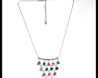Multi color Chez crystals necklace, high quality Chez Crystals Necklace, Green, purple and pink necklace, Handmade pendant necklace