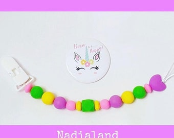 Food silicone Pacifier Chain-pacifier-chain pacifier-Pacifier Baby-pacifier Clip and Magnet unicorn...