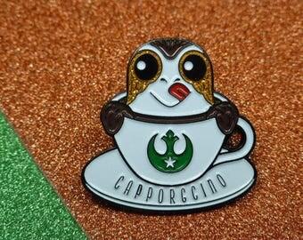 Star Wars inspired Porg Capporgcino Enamel Pin | Porg Pin Badge | Cappucino Coffee Enamel Pin |