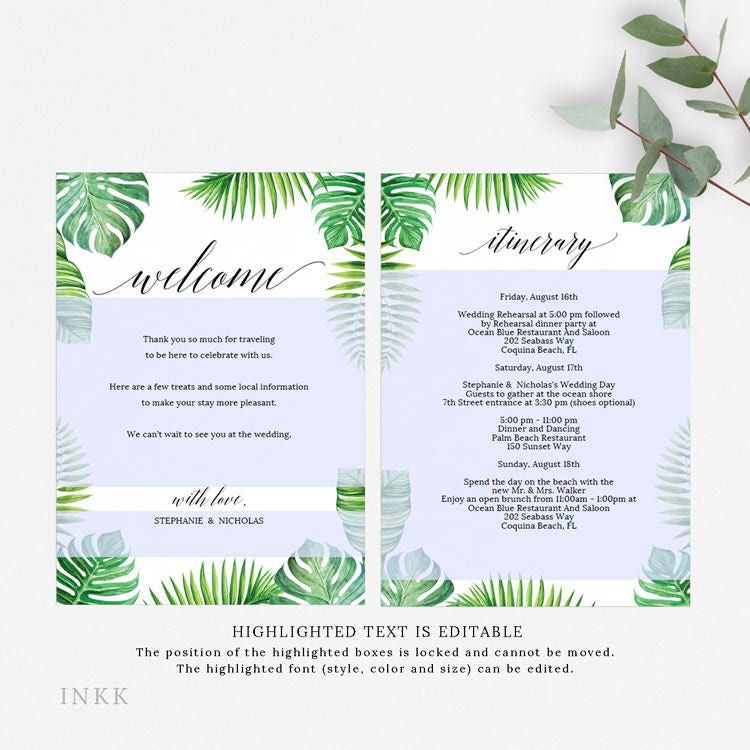 Tropical Wedding Itinerary, Welcome Bag Card, Printable Itinerary ...