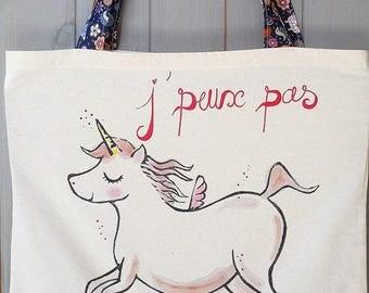 Cotton tote bag I can't I Unicorn