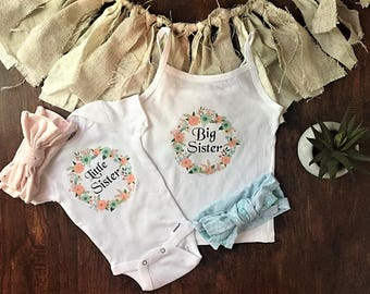 Big Sister little sister outfits, matching outfits for sisters, sister outfit for pictures, sister bows, little sister big sister outfits