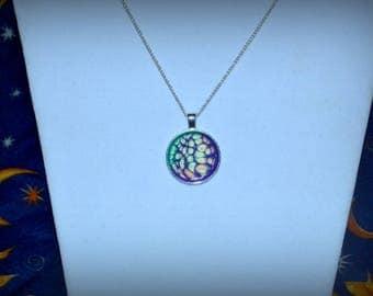 Green & Purple Honeycomb Necklace
