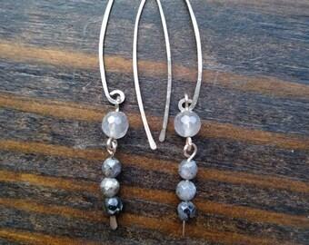 Elegant sterling silver, quartz & labradorite earrings