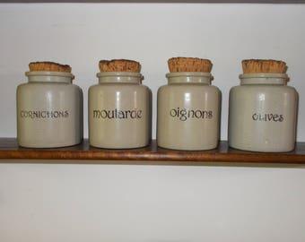 Vintage French Jars Stoneware set of 4,Grey with original cork lids
