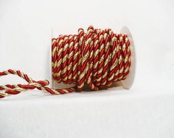 Twisted cord, twisted rope, satin twisted cord, red/metallic gold twisted cord 6 mm x 10 yards