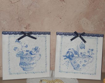 Set of two decorative shabby chic cottage style