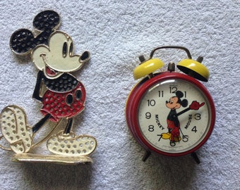 Vintage Mickey Mouse Wind Up Clock and Pierced Earrings Holder Duo