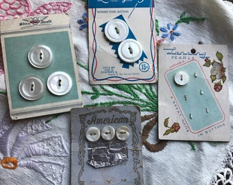 4 vintage mother of pearl button cards