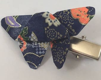 Origami floral blue butterfly hair clip