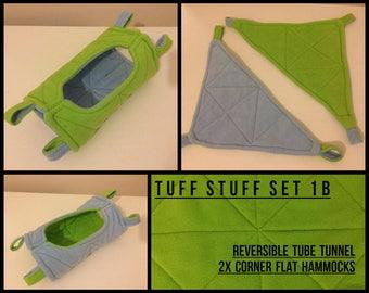 Tuff Stuff 1B - Pepper Roo's Rat Hammocks Set Ferret Sugar Glider Tube Tunnel Corner Matching Strong Durable Fleece Quilted Tough Small Pet
