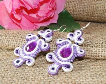 White purple earrings, jewelry soutache boho,
