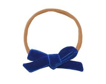 Schoolgirl Velvet Bow or Pigtail Set /// Blueberry
