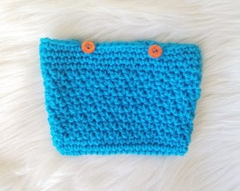 "Crochet Blue Pencil Case \ Makeup Bag \ Toiletry Pouch with Button Closure - 6"" x 4.5"""