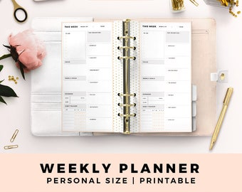 Personal Size Printable Planner Inserts, Weekly Planner, Week On One Page, Blush and Gold Productive Planner Pages