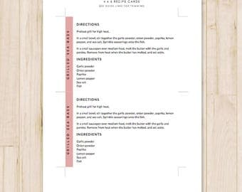 4x6 recipe card template for word