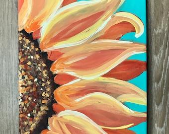 "Original Sunflower Acrylic Canvas Painting - 12""x9"""